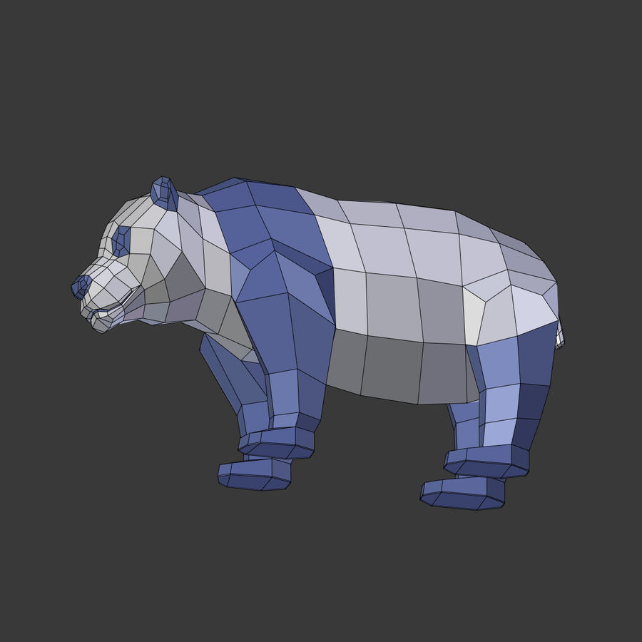 Bear_Panda_LOW POLY royalty-free 3d model - Preview no. 22