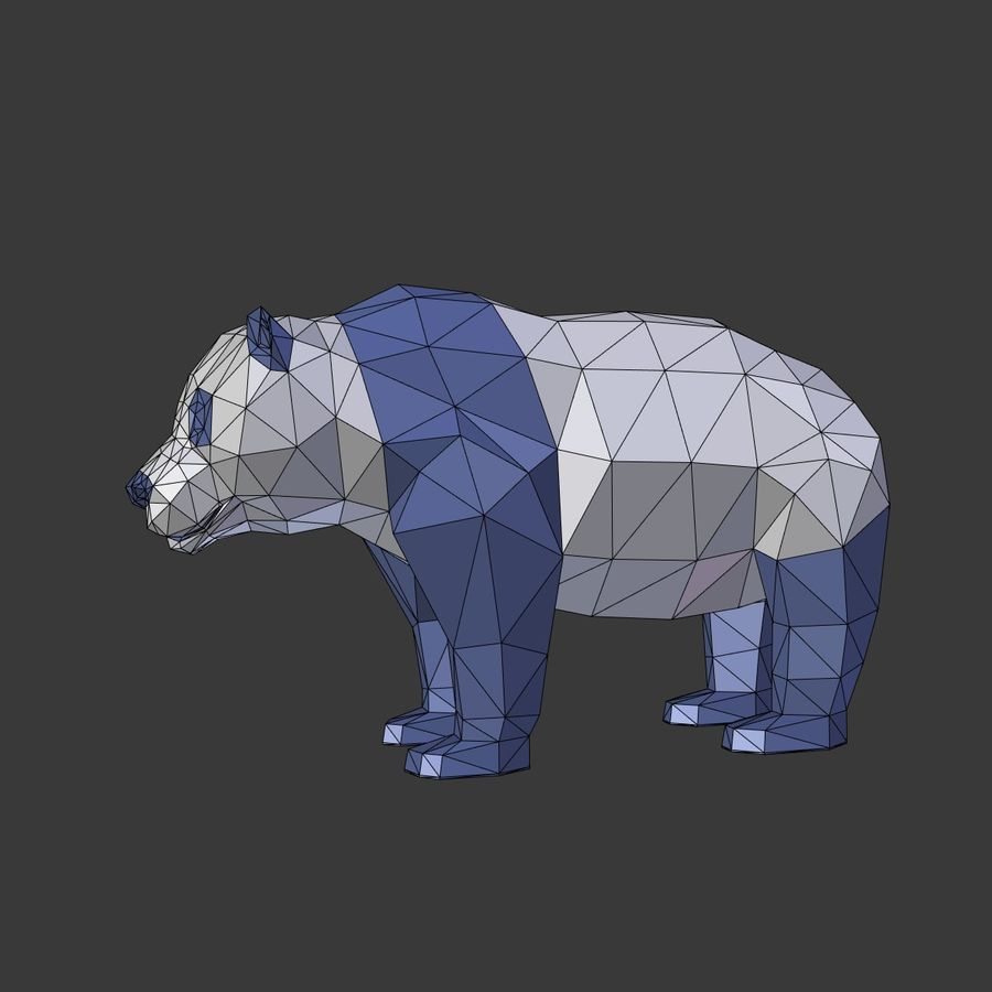 Bear_Panda_LOW POLY royalty-free 3d model - Preview no. 4