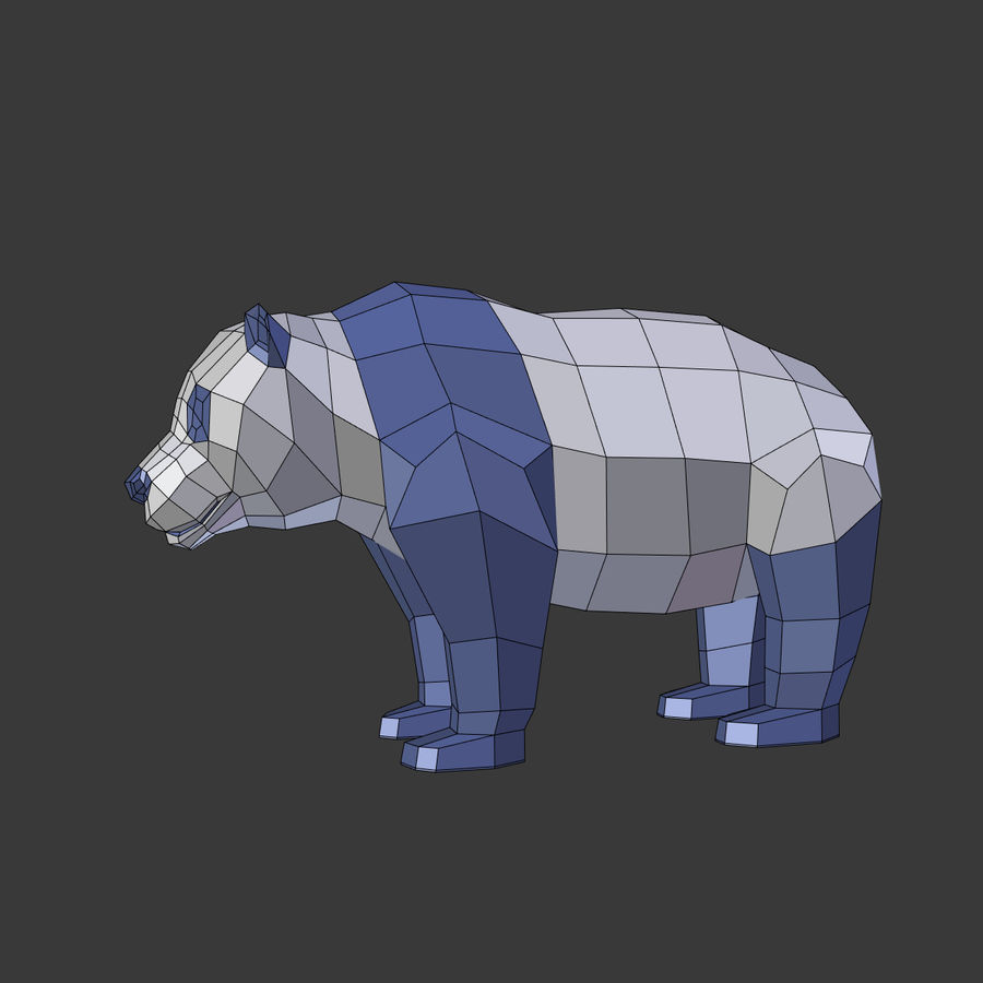 Bear_Panda_LOW POLY royalty-free 3d model - Preview no. 3