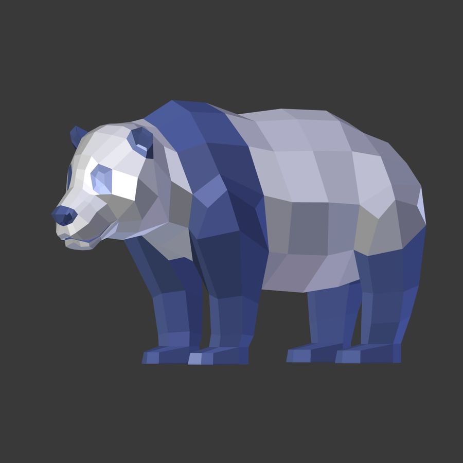 Bear_Panda_LOW POLY royalty-free 3d model - Preview no. 7