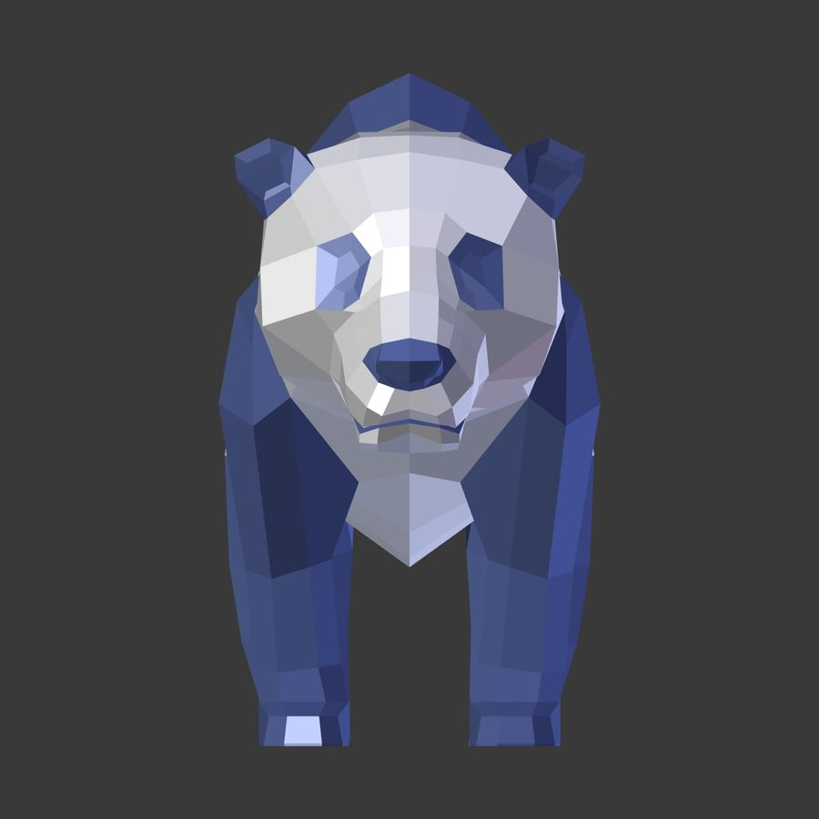Bear_Panda_LOW POLY royalty-free 3d model - Preview no. 11