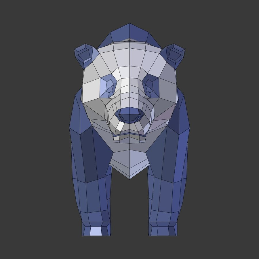 Bear_Panda_LOW POLY royalty-free 3d model - Preview no. 12