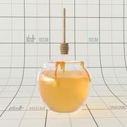 Honey Jar and Spoon 3d model