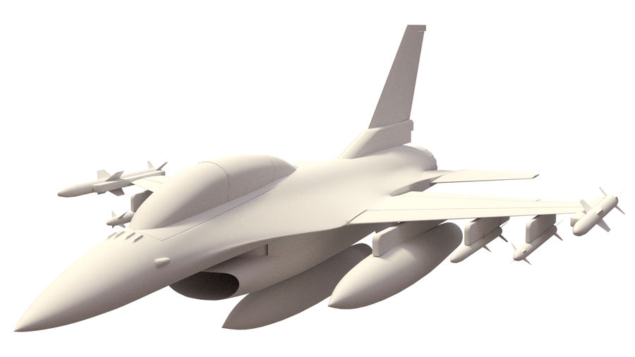 F 16 ( 4 variants) royalty-free 3d model - Preview no. 3