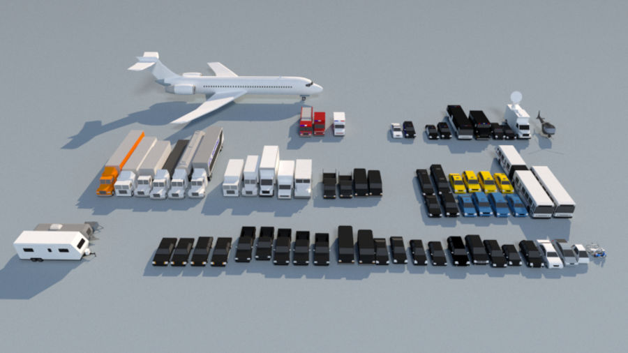 Collection Vehicle Modern Pack [71] (LOW POLY) royalty-free 3d model - Preview no. 2