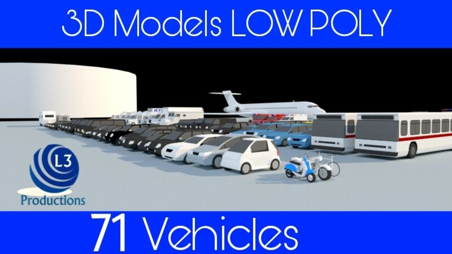 Collection Vehicle Modern Pack [71] (LOW POLY) royalty-free 3d model - Preview no. 1