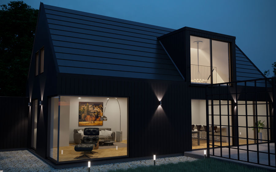 Corona Night and Day Modern House escena modelo 3D royalty-free modelo 3d - Preview no. 6
