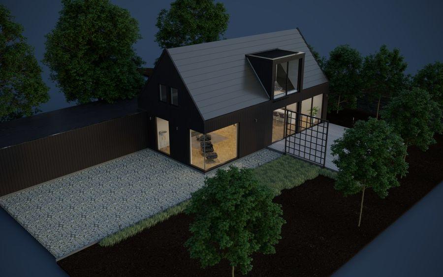 Corona Night and Day Modern House escena modelo 3D royalty-free modelo 3d - Preview no. 5
