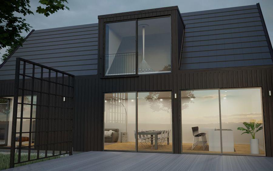 Corona Night and Day modern house scene 3D model 3D Model