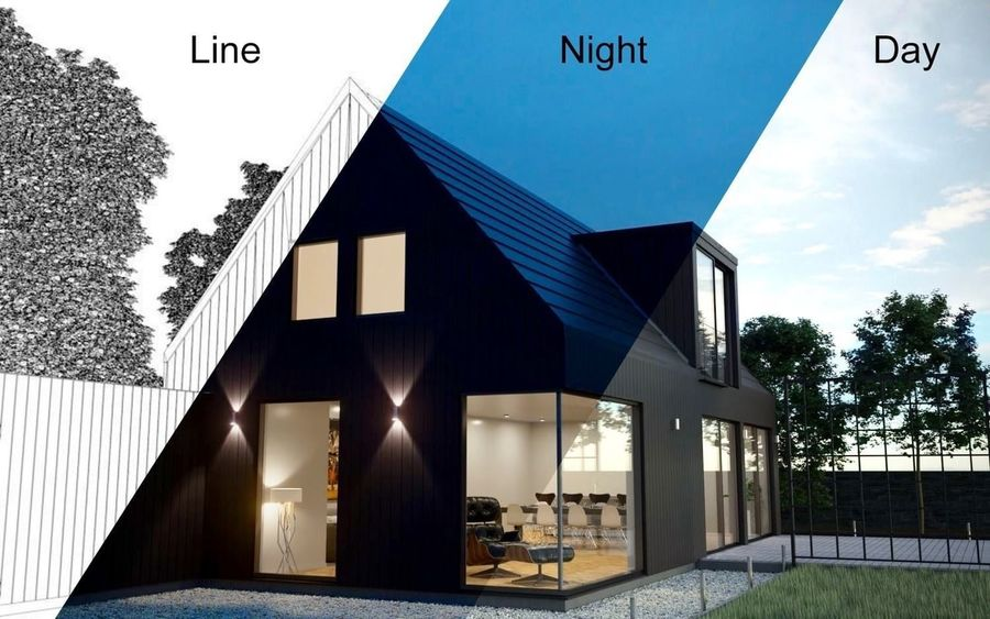 Corona Night and Day Modern House escena modelo 3D royalty-free modelo 3d - Preview no. 1
