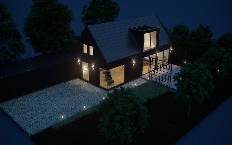 Corona Night and Day modern house scene 3D model 3D Model $20