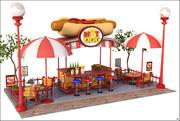 Hot Dog Wagon Cartoon V1 3d model