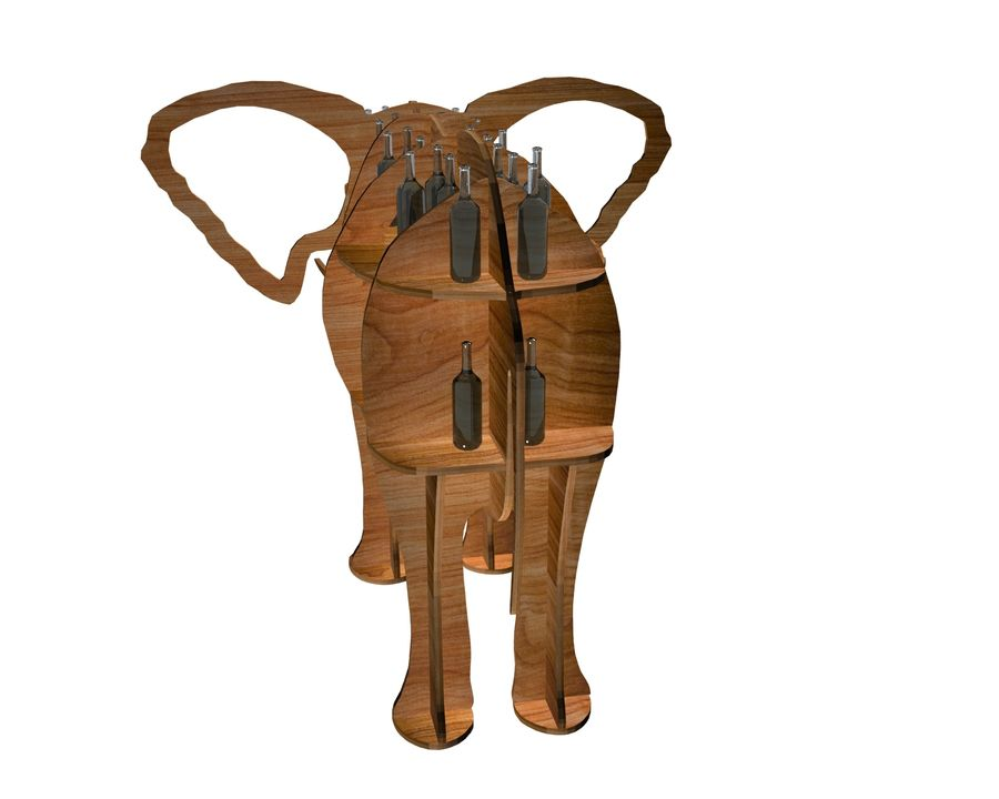 Shelf animal elephant royalty-free 3d model - Preview no. 3