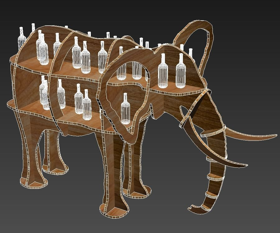 Shelf animal elephant royalty-free 3d model - Preview no. 6