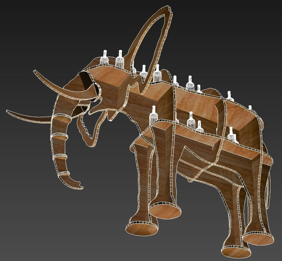 Shelf animal elephant royalty-free 3d model - Preview no. 7