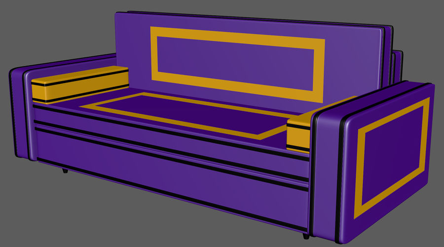 Leather Sofa V1 royalty-free 3d model - Preview no. 2