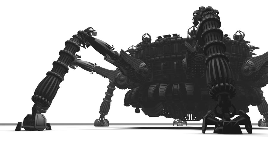 SciFi Robot Spacecraft Spider royalty-free 3d model - Preview no. 3