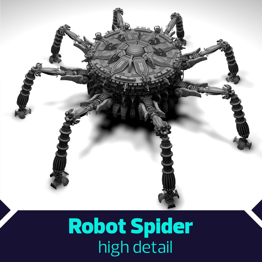 SciFi Robot Spacecraft Spider royalty-free 3d model - Preview no. 1