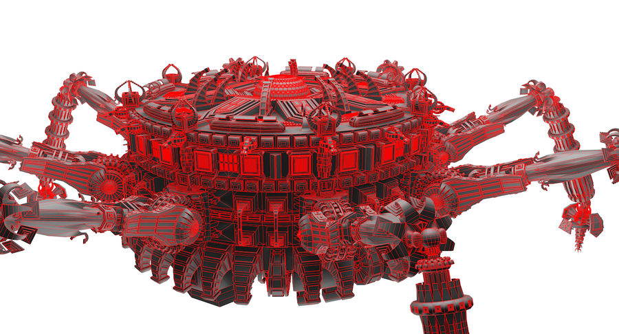 SciFi Robot Spacecraft Spider royalty-free 3d model - Preview no. 10