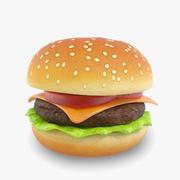 Cheeseburger Cartoon Lowpoly 3d model