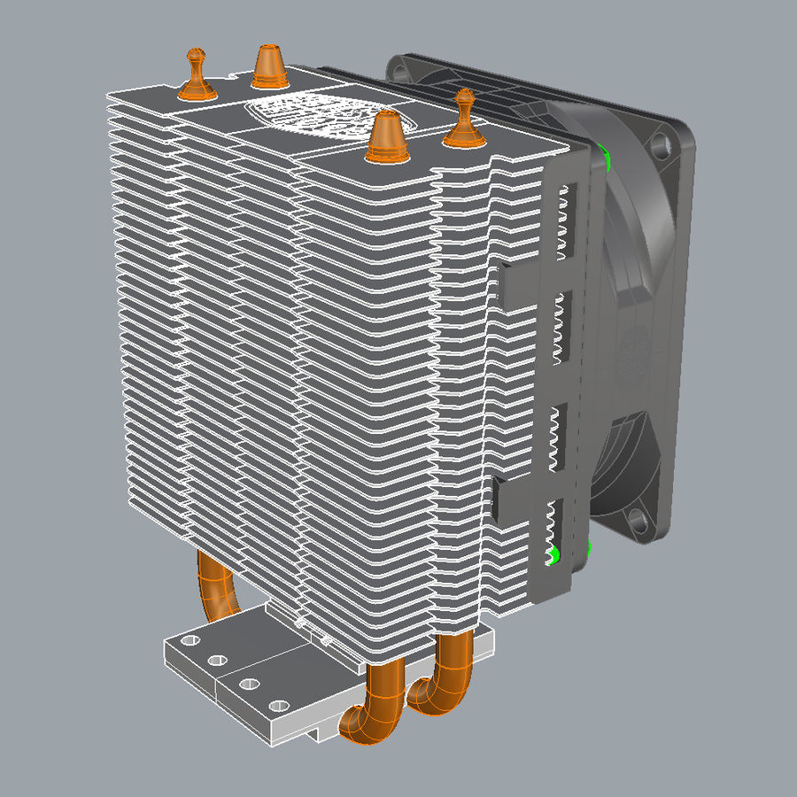 PC cooling fan royalty-free 3d model - Preview no. 6