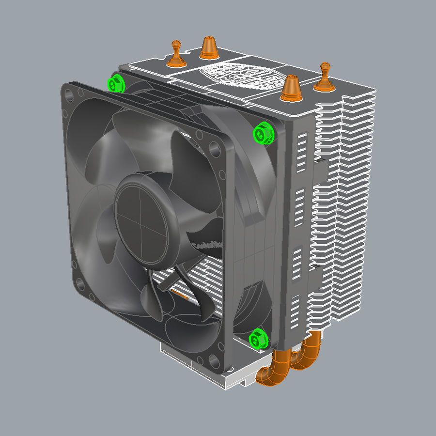 PC cooling fan royalty-free 3d model - Preview no. 5