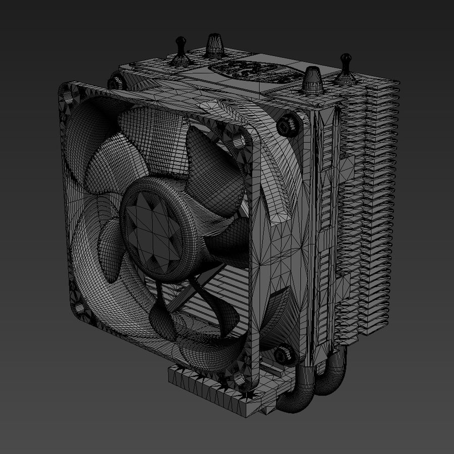 PC cooling fan royalty-free 3d model - Preview no. 9