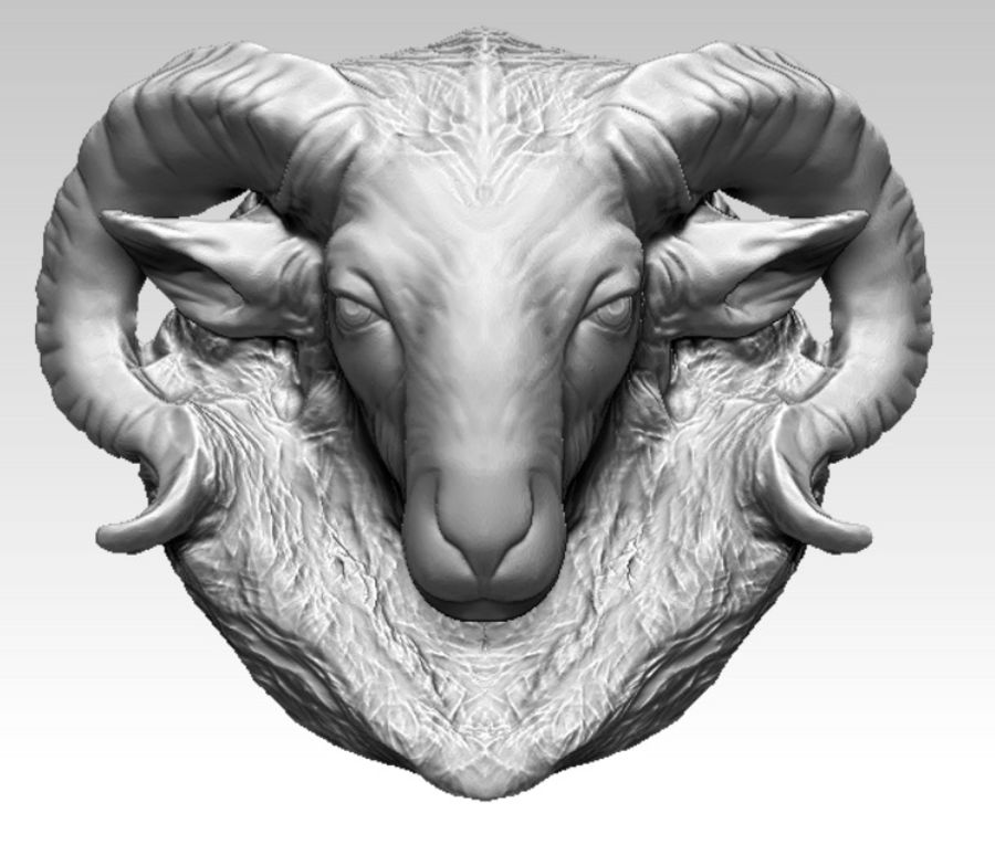 Ram head royalty-free 3d model - Preview no. 1