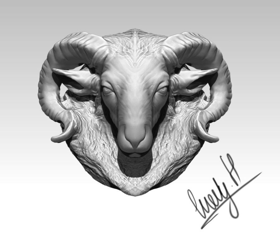Ram head royalty-free 3d model - Preview no. 2