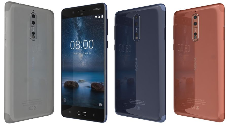 Nokia 8 All Colors royalty-free 3d model - Preview no. 1