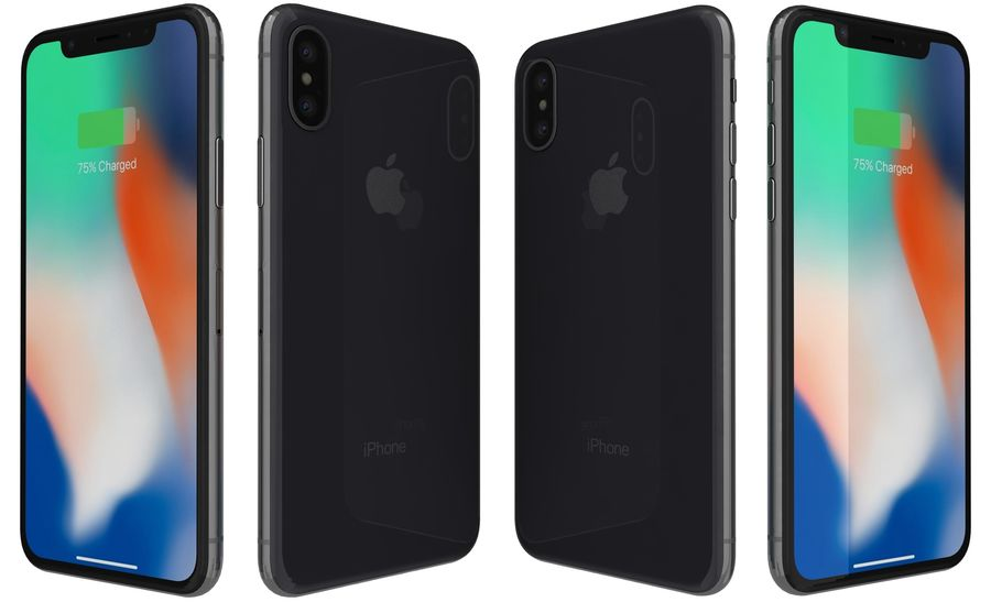 Apple iPhone X Space Gray royalty-free 3d model - Preview no. 7