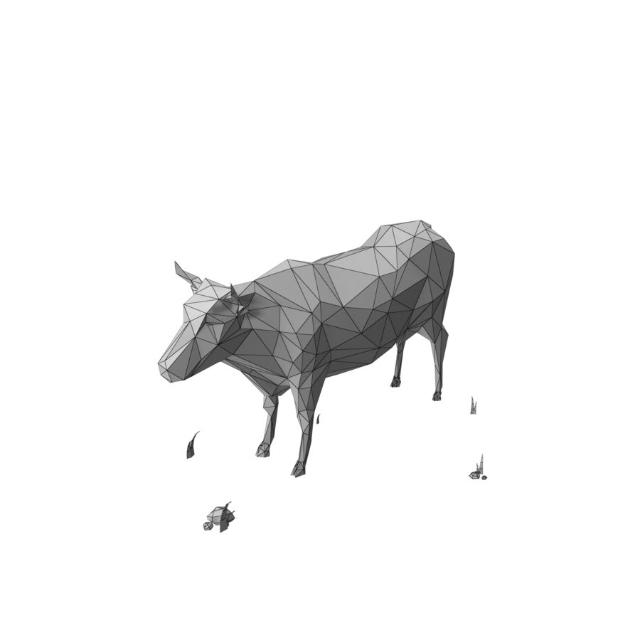 Low Poly Farm animals (bull) royalty-free 3d model - Preview no. 7