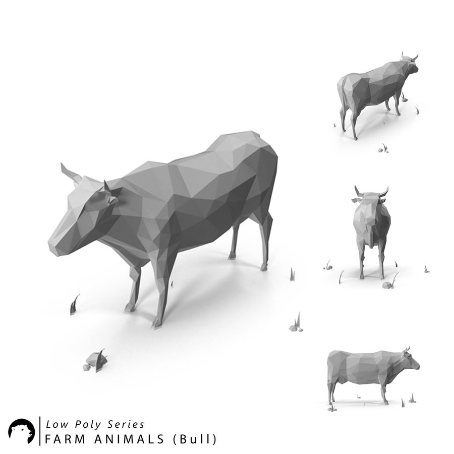 Low Poly Farm animals (bull) royalty-free 3d model - Preview no. 1