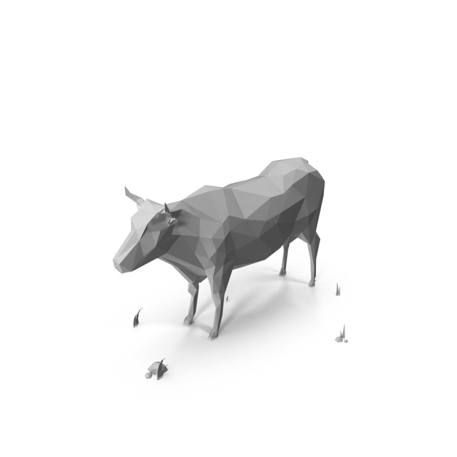 Low Poly Farm animals (bull) royalty-free 3d model - Preview no. 2