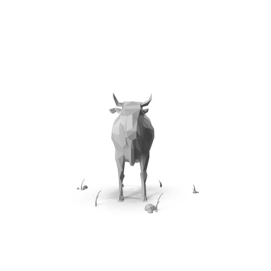 Low Poly Farm animals (bull) royalty-free 3d model - Preview no. 4