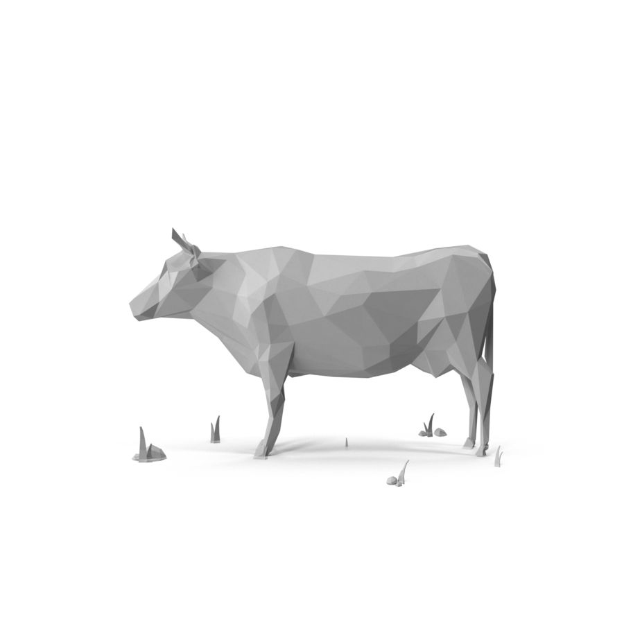 Low Poly Farm animals (bull) royalty-free 3d model - Preview no. 5