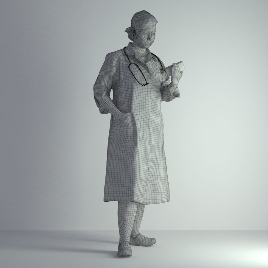 3D Scan Woman Doctor 003 royalty-free 3d model - Preview no. 2