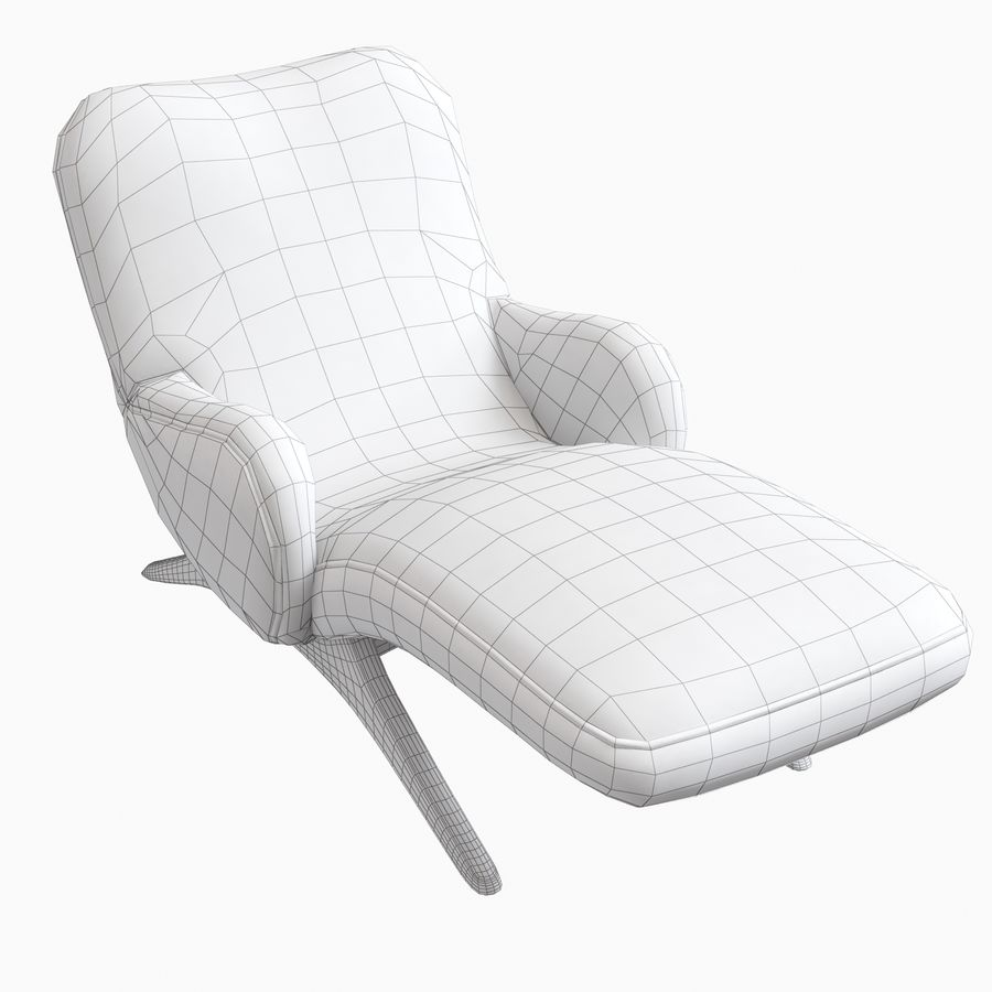 Vladimir Kagan Contour Chaise Lounge Holly Hunt royalty-free 3d model - Preview no. 10
