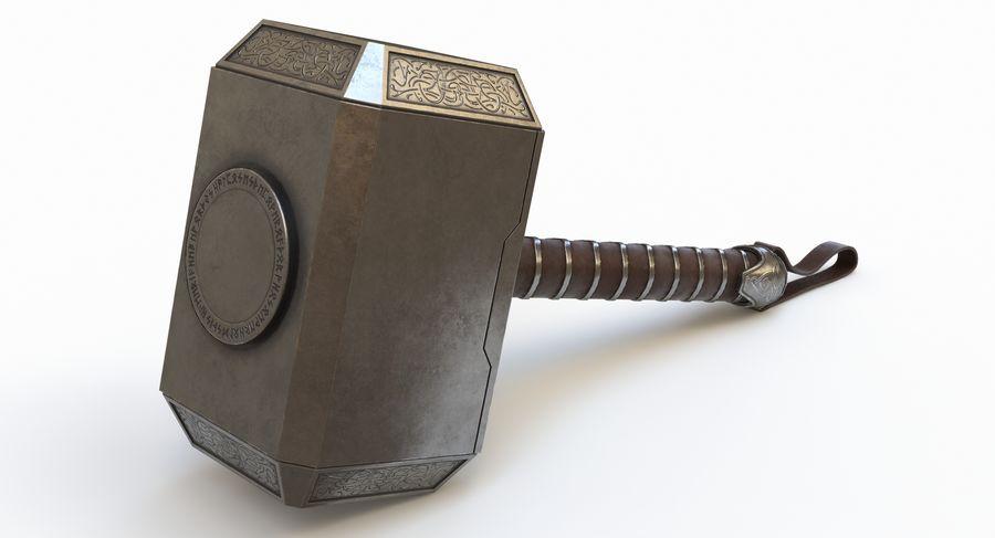 토르의 망치 (Mjolnir) 낮은 폴리 버전 royalty-free 3d model - Preview no. 3