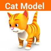 kreskówka ładny kotek niski poli 3d model