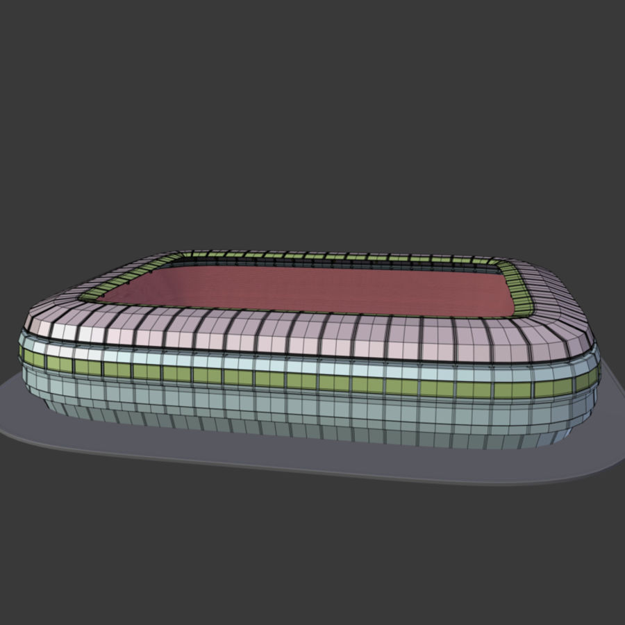 Stadion Low Poly Cartoon royalty-free 3d model - Preview no. 2