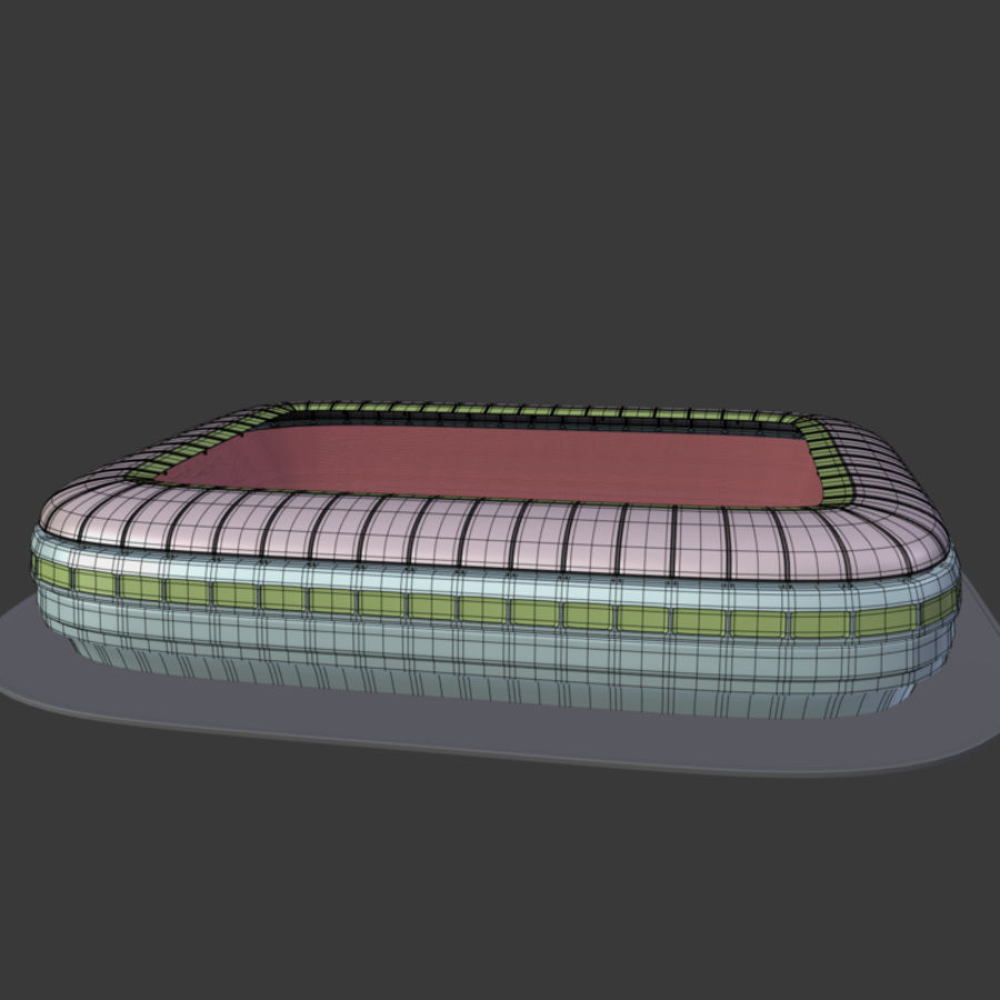 Stadion Low Poly Cartoon royalty-free 3d model - Preview no. 3