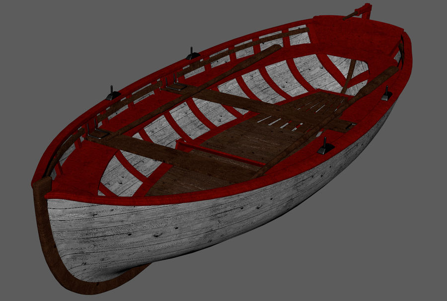 Fisherman Old Boat royalty-free 3d model - Preview no. 9