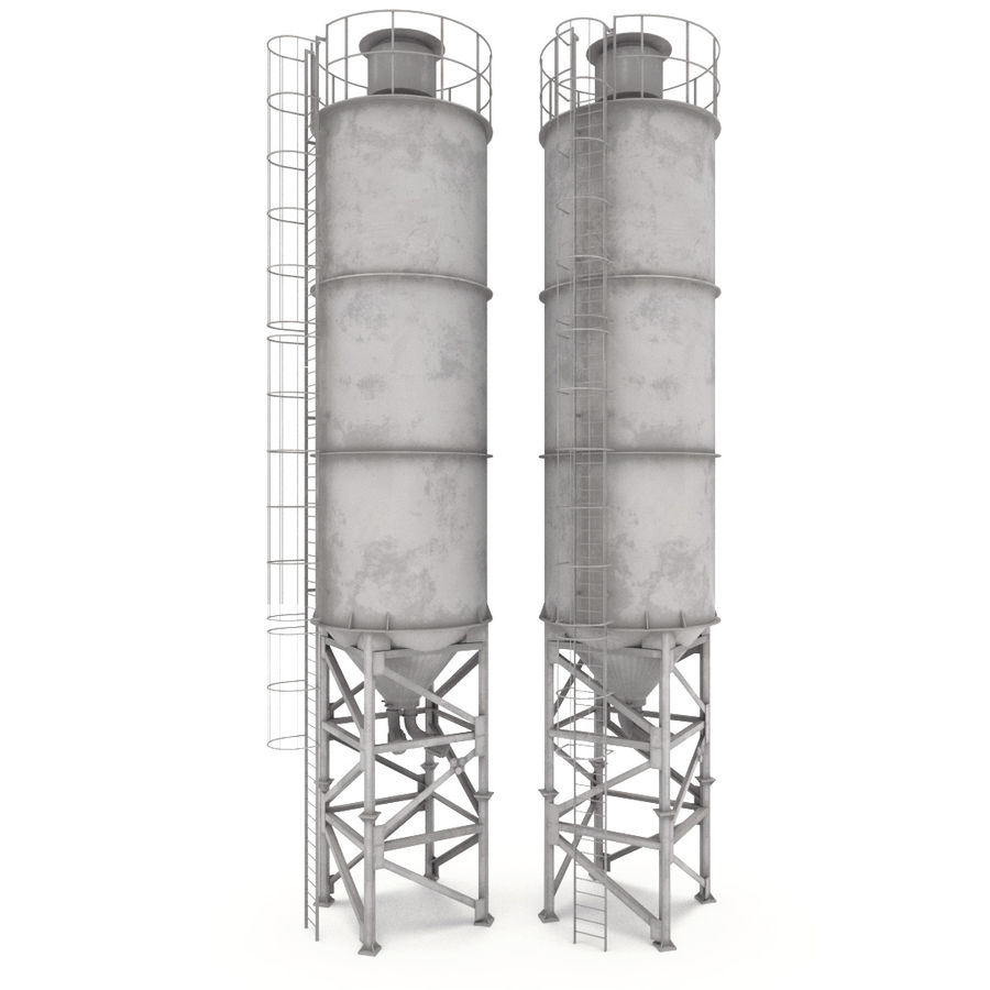 silos cementowy royalty-free 3d model - Preview no. 2