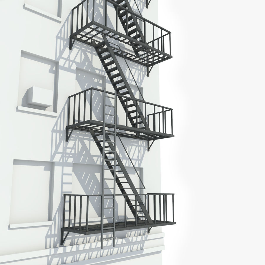 Superieur Fire Escape Stairs Royalty Free 3d Model   Preview No. 1