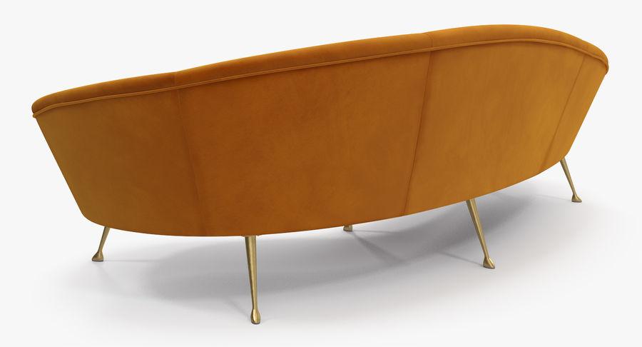 复古风格弯曲的沙发黄色 royalty-free 3d model - Preview no. 6
