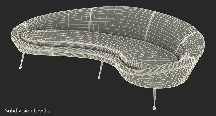 复古风格弯曲的沙发黄色 royalty-free 3d model - Preview no. 13