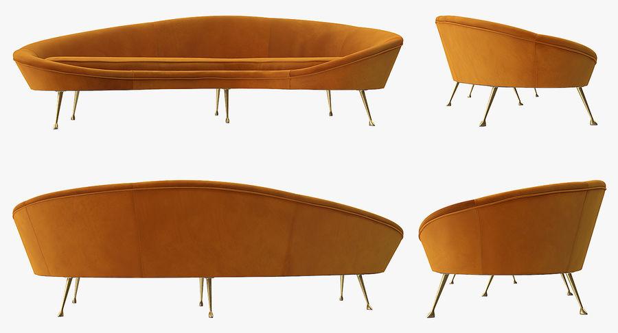 复古风格弯曲的沙发黄色 royalty-free 3d model - Preview no. 9