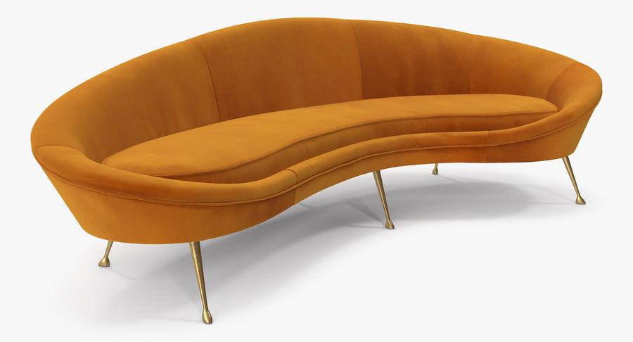复古风格弯曲的沙发黄色 royalty-free 3d model - Preview no. 4