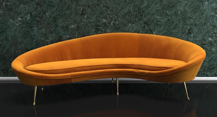 复古风格弯曲的沙发黄色 royalty-free 3d model - Preview no. 3
